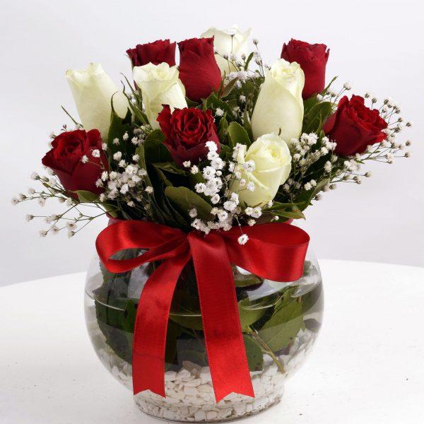 Kırıkkale Aşk Küresi Kırmızı Beyaz Güller