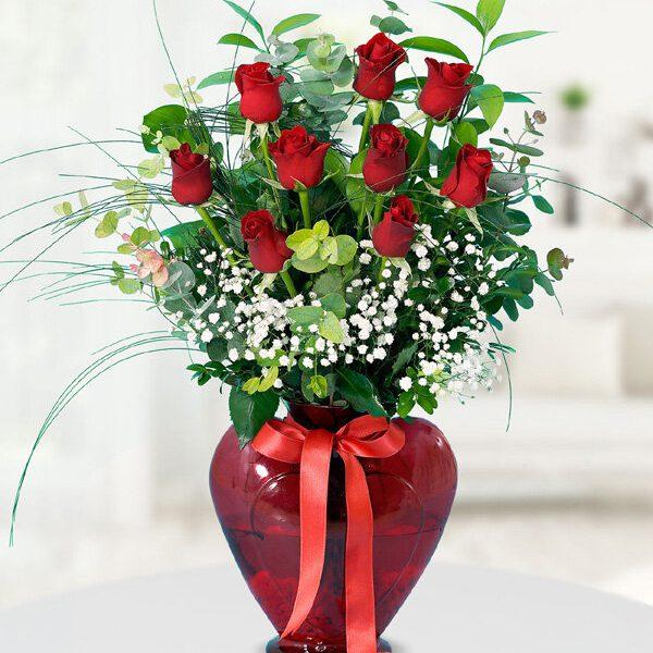 Kalpli Vazoda 9 Kırmızı Gül