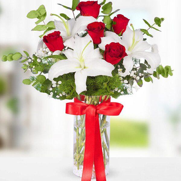 Kırıkkale Kırmızı Gül ve Beyaz Lilyum