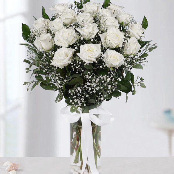 Kırıkkale Vazoda 19 Beyaz Gül