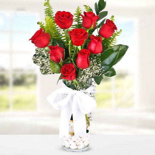 Kırıkkale Vazoda 9 Adet Kırmızı Güller