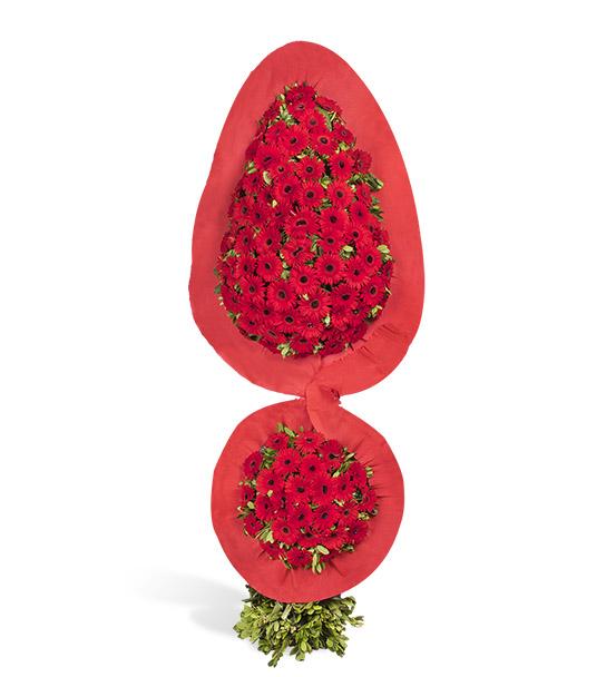 Destansı Sevgi Kırmızı Gerbera Kutlama Çelengi