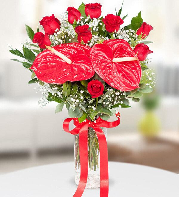 Vazoda Kırmızı Güller ve Antoryum